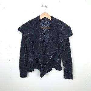 Ann Taylor Marled Draped Wool Sweater Jacket